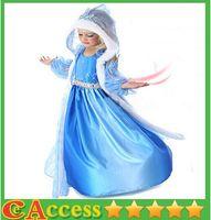 Cheap frozen snow queen elsa costume anime cosplay dress frozen elsa dress blue frozen princess elsa dress with hooded cape frozen elsa cape dress