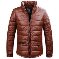 Cheap 2014 Winter Quality Men Thick Warm Down Jackets Plus Size M-3XL Brand New Man Fashion Leather Coats Casual Parkas YF01002