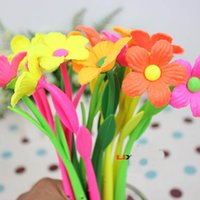 Wholesale newest Creative soft silicon plant ballpoint pen lovely fresh flowers and gift pen student prizes dandys