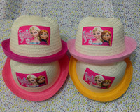 Wholesale Frozen Children s Day Gift Weaving Hats Summer Elsa Anna Kids Cat Ear Shape Straw Hat Snow Queen Sun Protection Cap