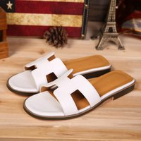 Wholesale Women Summer Slippers Leather Flat Heel Sandals H Size Colors White Black Red Brown Orange Sandals