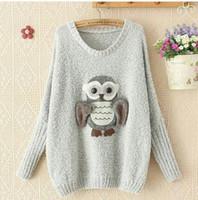 achat en gros de motif de hiboux tricotés-Beau modèle Cartoon Owl femme Pull avec Batwing manches longues à encolure courte Sweathshirts Haute Qualité Femmes Pull Pull tricoté