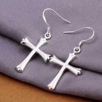 Livraison gratuite 925 Boucles d'oreilles Croix Goutte Boucle d'Argent de bijoux mignons Boucle d'Argent Sterling Beaux Fashion Top Quality SMTE305