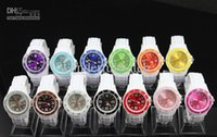 Wholesale Hot Children MM White Bands Double Colors Face Jelly Watch Fashion Candy Quartz Watches DHL free