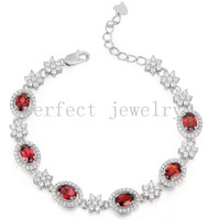 Wholesale Garnet chain bracelet Natural real garnet sterling silver plated k white gold Perfect Jewelry DH