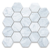 Wholesale 3inch tile carrarra white marble tile hexagon mosaic tile Italy carrarra white marble tiles wall mounted mesh