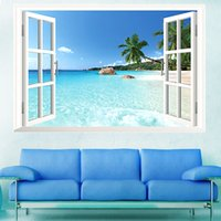 Wholesale Large Removable Beach Sea D Window View Scenery Wall Sticker Decor Decal ifauk