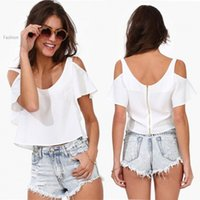 off the shoulder tops - Femininas Brand Ladies Chiffon Tops Summer Sexy White short Sleeve Off The Shoulder Solid zipper Blouse