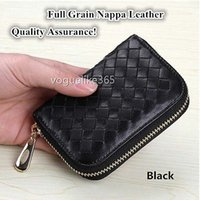 Wholesale Full Grain Nappa Leather Wallet Zippered Multi card ID Big Capacity Card Holder
