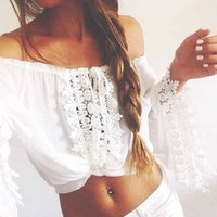 Wholesale Sexy Women Girl Handmade Off Shoulder Swimwear Crochet Beach Swimsuit Cover Up Knitted Bikini A Line Lace Blouse