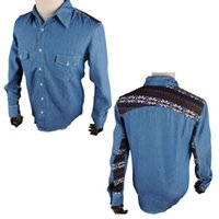 low price jeans - Men Casual Shirts Man Dress Long Sleeve Shirt Cotton Color matching shirts Boys Jeans Pocket Mens Apparel Clothing Lowest Price