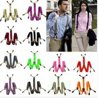 Wholesale Mens Suspenders solid Adjustable Button hole Leather Fittings Braces