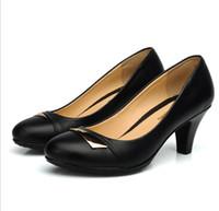 ladies shoes - Size women genuine leather shoes thick heel platform pumps black leather office lady shoe