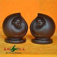 african carved ebony statue - Kerry Redwood City happiness and longevity peach African ebony wood carving of Buddha statues automobile ornaments Home Gift Collection