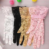 Cheap Women Wedding Bridal Lace Glove Sexy Women fashion Tulle Lace Hollow Out Short Gloves Ruffle Flower Glove Car Drive Sun Protection Hand Wear