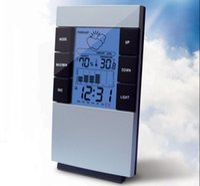 Wholesale LCD LED Light Digital Indoor Sensors Thermometer Temperature Hygrometer Humidity C f clock Time Alarm Calendar Backlit Meter