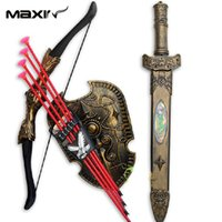 archery set toy - Children Toys Include Bow and Arrow Double edged Sword Shield Sucker Simulation Archery Toy Swords Set