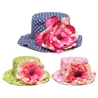 Wholesale 2015 High Quality Fashion Design Lovely Girls Dot Pattern Floral Decoration Summer Sun Hats Children Caps Color Straw Hats
