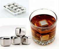 Wholesale Set of Stainless Steel Ice Cubes with Tongs Tray Iced Cubes Rock Neat Drink Whiskey Stone