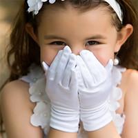 girl white gloves - New wedding bridal gloves for Kids Plain glove Europe dance flower girl dresses wedding etiquette gloves