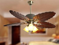 Wholesale Modern American Style Wood Palm leaf Ceiling Fan Light Living room Ceiling Fan Lamp Fixture Lighting Luminiare order lt no track