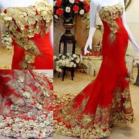 acme flowers - Acme Costly Crystals Evening Dresses Strapless Applique Gold Red Mermaid Pageant Party Gowns Prom Dresses Custom Made