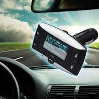 Wholesale LCD quot Bluetooth Car Kit Handsfree MP3 Player FM Transmitter Remote USB SD MMC Supported for iPhone s for SONY HTC ONE