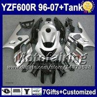 7gifts+Réservoir Pour YAMAHA YZF600R argent noir Thundercat 96-07 1996 1997 1998 2S3 YZF600 R YZF 600R 600 1999 2000 Argenté noir 2001 de Carénage