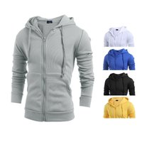Wholesale Men s Casual Zipper Long Sleeve Hoodie Sweatshirts Slim Solid color Cotton