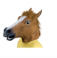 halloween latex mask - Halloween Party Face Mask Creepy Horse Mask Head Halloween Costume Theater Prop Novelty Latex Rubber Party Mask Horrific Mask Animal Masks