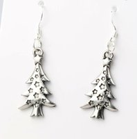 antique fishes - 14 x44mm Antique Silver Star Light Christmas Tree Charm Pendant Earrings Silver Fish Ear Hook Dangle Chandelier Jewelry E748