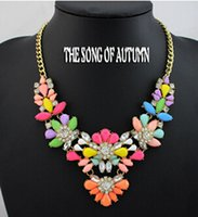 Wholesale 2015 new design high quality jewelry fashion women color acrylic statement collar necklace jc Necklaces Pendants price