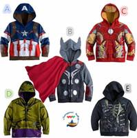 Wholesale DDA3331 Cartoon children hoodies The Avengers kids hoodies Sweatshirts superhero Captain America Avenger Outwear Children cardigan