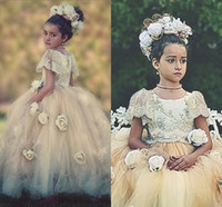 Wholesale 2016 Ball Gown Flower Girls Dresses With Short Sleeves Crystal Appliques Tulle Floor Length White Ivory Birthday Dresses For Girls