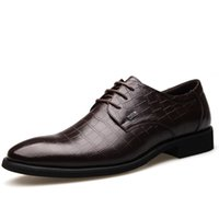 alligator band - Men s Luxurious Alligator Pattern Genuine Leather Dress Shoes Lace up Pointed Toe Business Shoes Oxford Shoes for men