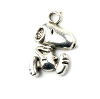 Wholesale 100Pcs x16 mm Antique Silver Cute Snoopy Dog Charms Pendants Fashion Jewelry DIY Fit Bracelets Necklace Earrings L182