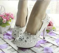 Wholesale Princess lace rhinestones High heels wedding shoes handmade rhinestone crystal bridal shoes for women white color wedding shoes