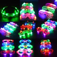 Wholesale 12pcs Fun LED Eye Glasses Light Up Flashing Blinking Eye Glasses Party Bar Supplies Decoration Christmas Wedding