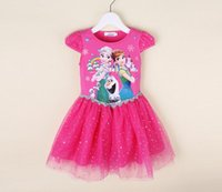 Wholesale 2016 Baby Clothing Summer Short Sleeve Dresses Princess Cute Cartoon Lace Clothing Frozen Baby Dresses Blue Pink Mei Red Color Kids Dresses
