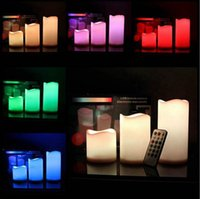 Wholesale LED Flameless Remote Control Color changing Led Candle Light Set Romantic Candle Lamp Wedding gift Christmas Decoration size