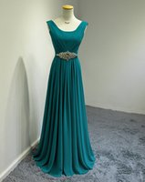 shirt t-shirt - 2015 Long Bridesmaid Dresses With Beads Chiffon Scoop Neck Teal Formal Gown Wedding Party Dress Available Red Blue Fuchsia Purple