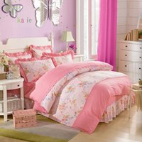 american country quilts - Pastoral floral double bedding sets girl full queen american country bedclothes bedspread pillow case quilt cover home decore