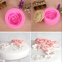 Wholesale 1Pcs D Silicone Rose Flower Shape Mold Mould Cake Decorating Tools Chocolate Baking Bakeware Supplies Pastry Kitchen Dining