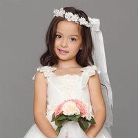 Wholesale 2016 New Arrival White Children Hair Garland Wedding Veils For Junior Bridesmaid Head Pieces Kids Accessories In Stock