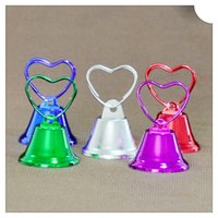 Wholesale 100Pcs PH022 Memo Clip Business Card Holder Mini Love Bell Photo Clip Note Holder Christmas Gifts