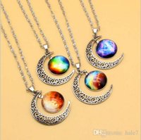 Wholesale 2015 New Vintage starry Moon Outer space Universe Gemstone Pendant Necklaces Mix Models