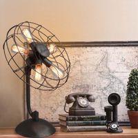 bedside fan - LOFT American Industry Nostalgia Creative Wrought Iron Fan Table Lamp Living Room Bedroom Bedside Decoration Desk Lamp