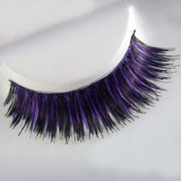 artificial cotton stems - Black purple mixed cotton stem false artificial eyelashes woman make up eyelashes accessory