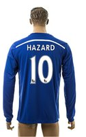 Wholesale 2014 New Chelsea Hazard Home Blue Thai Quality Soccer Long Sleeve Jersey For Adults Football Club Full Jerseys