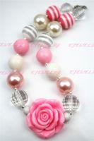 Wholesale rose flower pendant chunky bubblegum necklace chunky bubblegum necklace for little children CB053